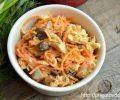 Куриный салат с грибами и корейской морковью